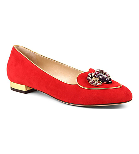 CHARLOTTE OLYMPIA Capricorn suede loafers (Red
