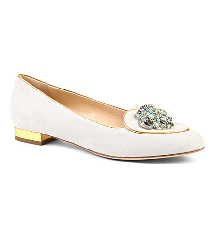 CHARLOTTE OLYMPIA Aquarius Birthday suede loafers (Winter+wht
