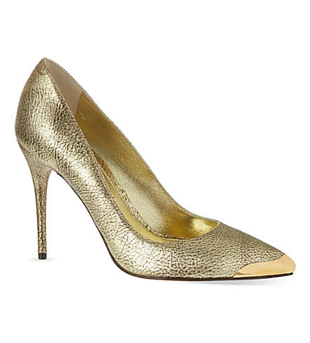 ALEXANDER MCQUEEN Metal capped court shoes (Gold