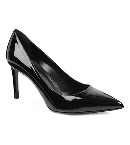 SAINT LAURENT Paris patent leather courts (Black