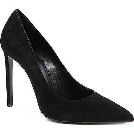 SAINT LAURENT Paris suede leather courts (Black