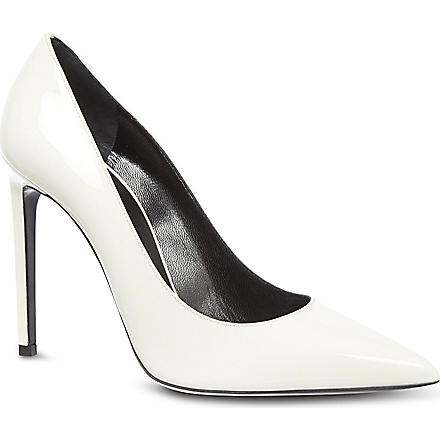 SAINT LAURENT Classic Paris escarpin pumps in white patent leather (White