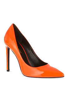 SAINT LAURENT Heeled pumps in neon patent leather
