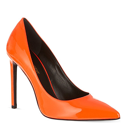 SAINT LAURENT Heeled pumps in neon patent leather (Orange