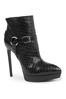 SAINT LAURENT Janis snake-embossed ankle boots