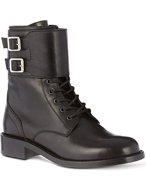 SAINT LAURENT Signiture patti lace-up buckle boots in black leather
