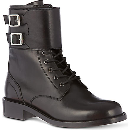SAINT LAURENT Patti leathers military boots (Black