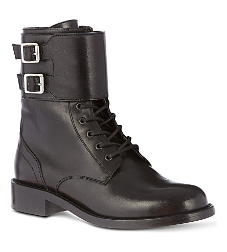 SAINT LAURENT Signiture patti lace-up buckle boots in black leather (Black