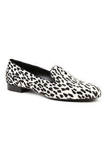 SAINT LAURENT Leopard-print ponyskin smoking slippers