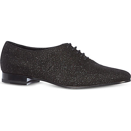 SAINT LAURENT Blake metallic speckle brogues (Black