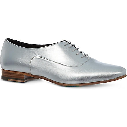 SAINT LAURENT Blake metallic leather brogues (Silver
