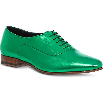 SAINT LAURENT Blake metallic leather brogues (Turquoise