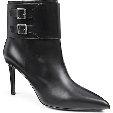 SAINT LAURENT Paris buckle ankle boots (Black