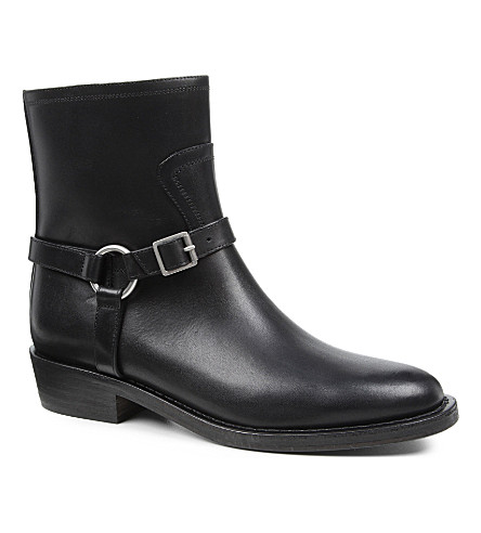 SAINT LAURENT Camarguaise leather biker boots (Black