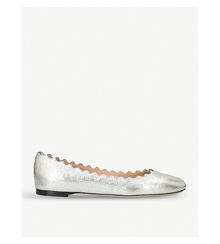 CHLOE Lauren mottled metallic-leather ballet flats (Gunmetal