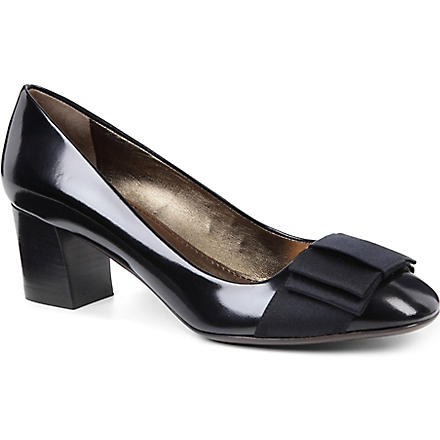 LANVIN Cube leather bow-detailed courts (Black