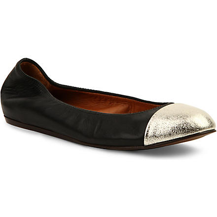 LANVIN Peep Rod leather pumps (Black/comb
