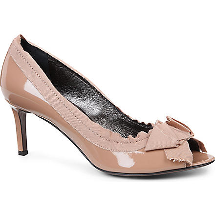 LANVIN Timeless patent-leather peep-toe courts (Beige