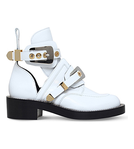 BALENCIAGA Ceinture leather ankle boots (White/oth