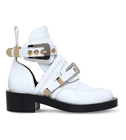 BALENCIAGACeinture 皮革踝靴 (白色/其他