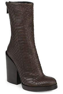 HAIDER ACKERMANN Snake-embossed stacked-heel boots