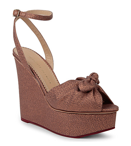 CHARLOTTE OLYMPIA Miranda metallic wedge sandals (Camel