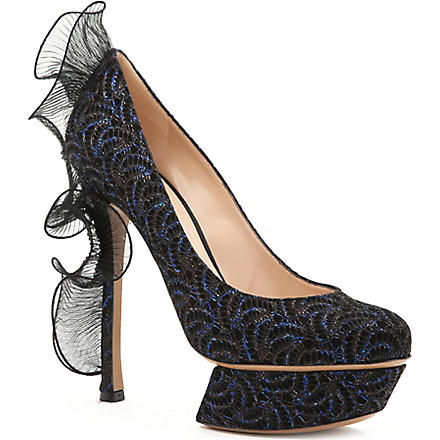 NICHOLAS KIRKWOOD Ruffle back embellished court shoes (Blue