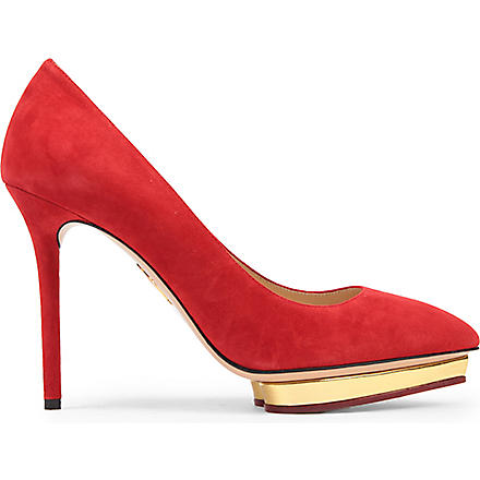 CHARLOTTE OLYMPIA Debbie suede courts (Red/other