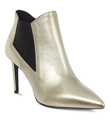SAINT LAURENT Classic Paris chelsea ankle boot in silver leather (Silver