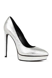 SAINT LAURENT Janis metallic leather platform courts