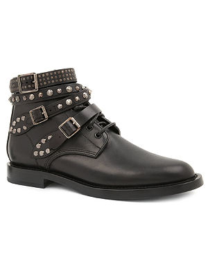 SAINT LAURENT Signature rangers studded boots in black leather