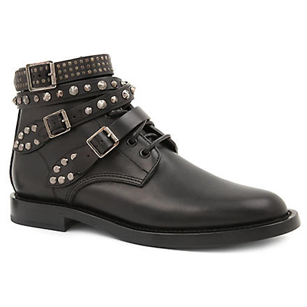 SAINT LAURENT Rangers studded leather ranger ankle boots (Black