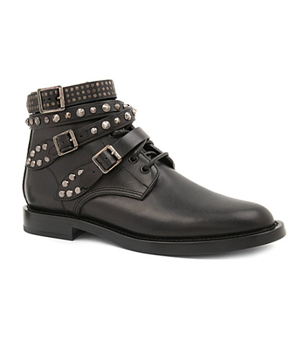 SAINT LAURENT Signature rangers studded boots in black leather (Black
