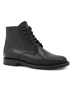 SAINT LAURENT Signiture patti lace-up boots in black leather