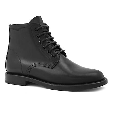 SAINT LAURENT Signiture patti lace-up boots in black leather (Black
