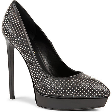SAINT LAURENT Janis studded 105 pumps (Blk/other