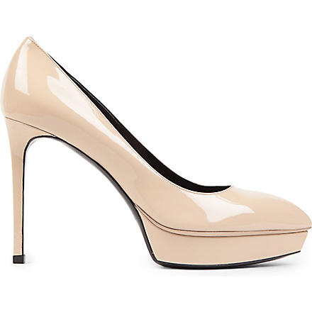SAINT LAURENT Janis 80 patent leather pumps (Nude