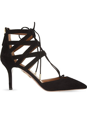 AQUAZZURA Belgravia suede court shoes