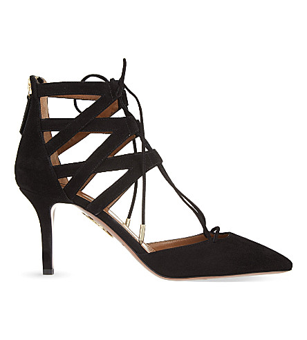 AQUAZZURA Belgravia suede courts (Black