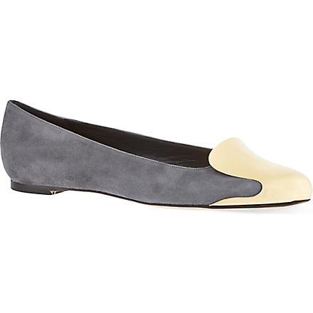 ALEXANDER MCQUEEN Gold-front ballerina pumps (Grey
