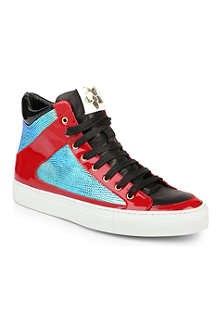 RUPERT SANDERSON Rockall reptile-embossed high-top trainers