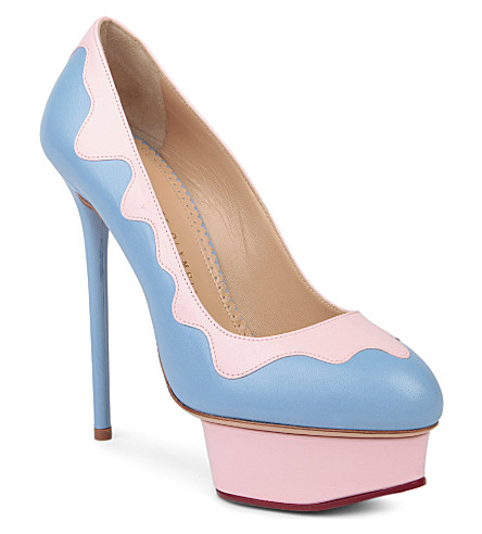 CHARLOTTE OLYMPIA Josie sundae leather court shoes (Blue/pal.c