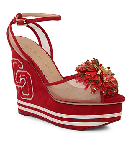 CHARLOTTE OLYMPIA Team spirit suede wedges (Red