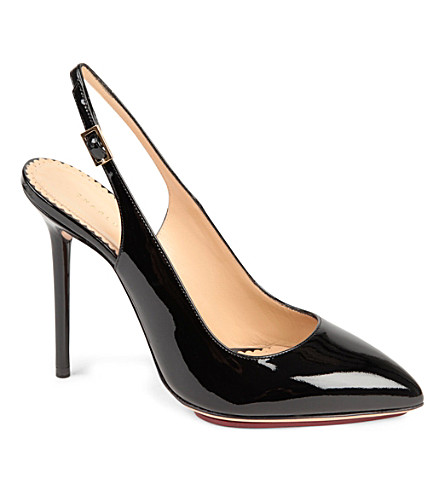 CHARLOTTE OLYMPIA Monroe patent leather slingback courts (Black