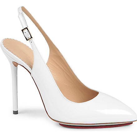 CHARLOTTE OLYMPIA Monroe patent leather slingback courts (White