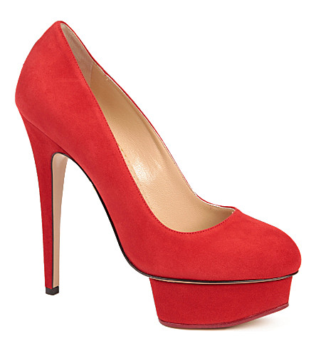 CHARLOTTE OLYMPIA Dolly Tone suede platform courts (Red