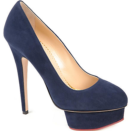 CHARLOTTE OLYMPIA Dolly Tone suede platform courts (Navy