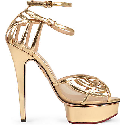 CHARLOTTE OLYMPIA Octavia leather platform sandals (Gold