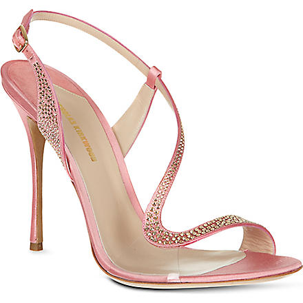 NICHOLAS KIRKWOOD Asymmetric satin sandals (Beige