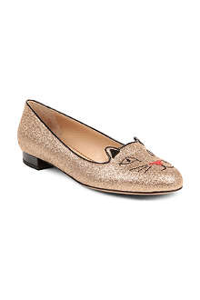 CHARLOTTE OLYMPIA Kitty glitter slippers